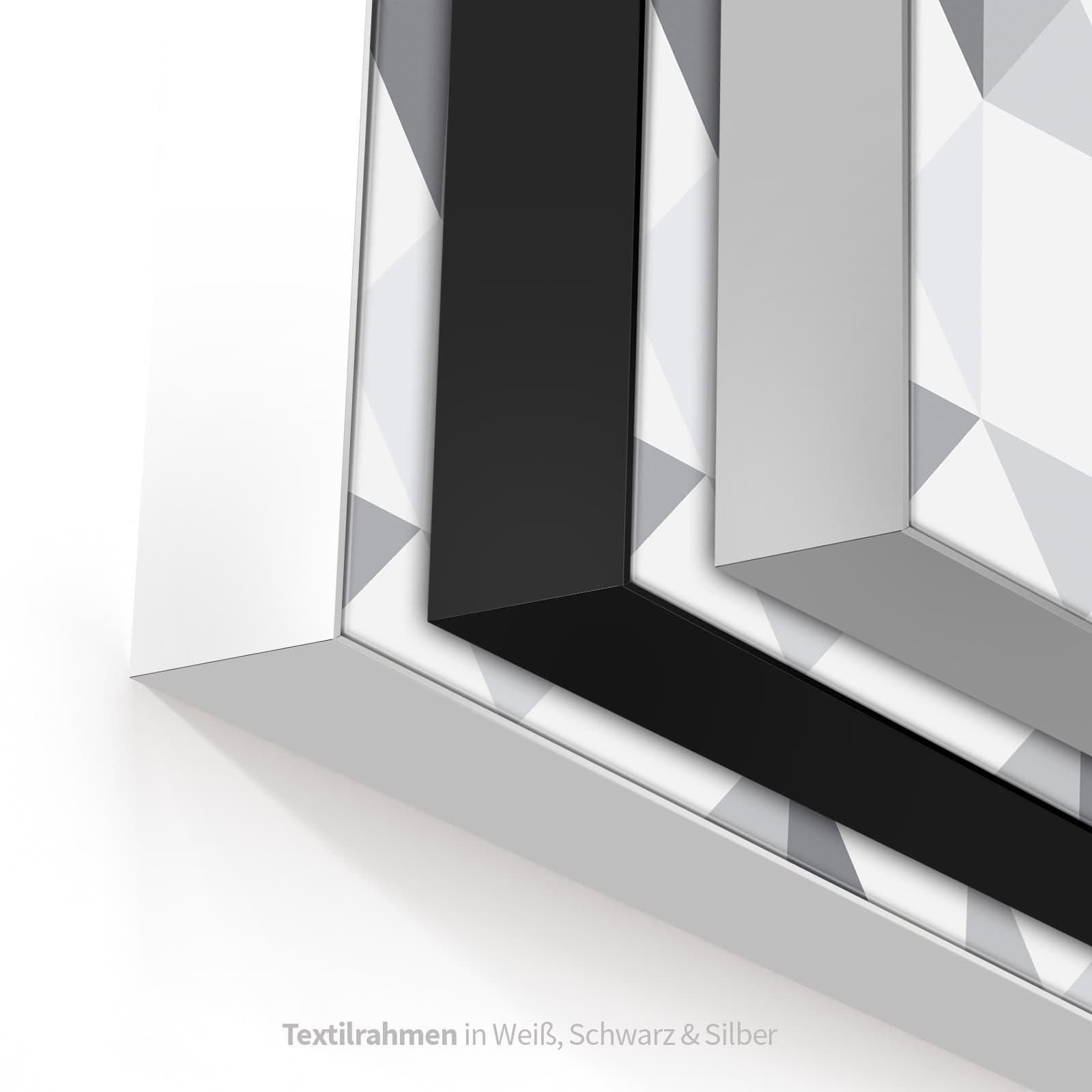 Mögliche Farben des Textilbildes in Weiss, Schwarz oder Silber